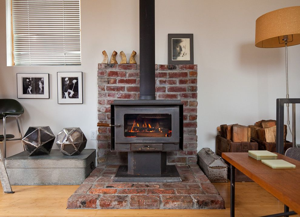 Rsd Supply for a Eclectic Living Room with a Brick Hearth and Ira Lippke by Ira Lippke