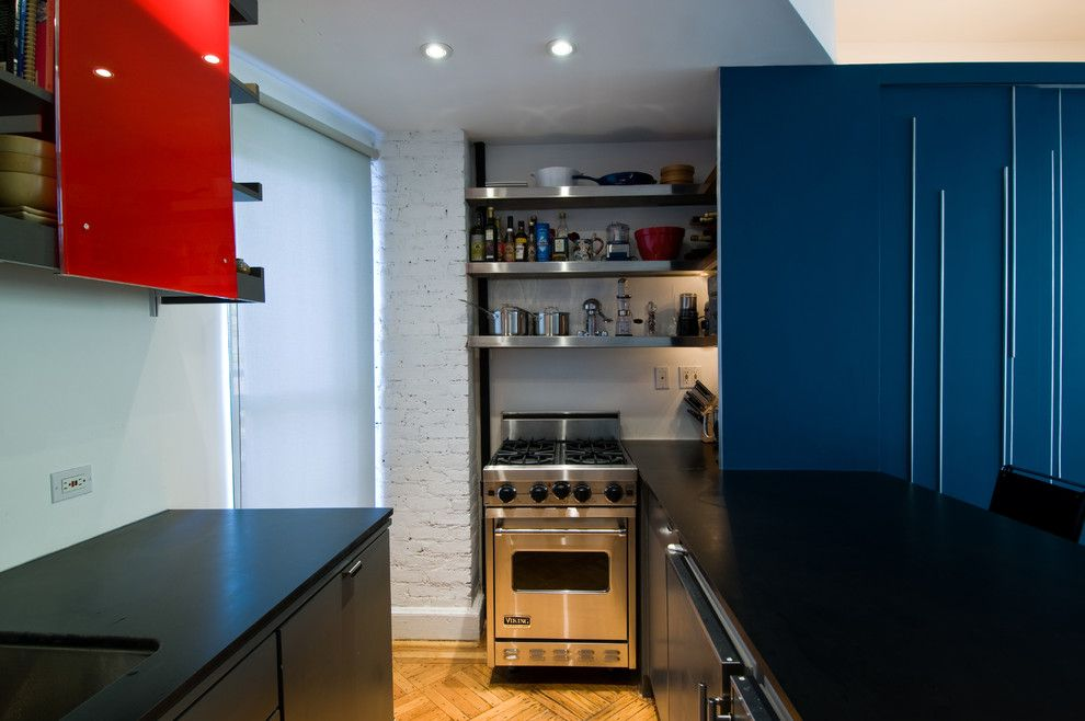 Rsd Supply for a Modern Kitchen with a Blue Cabinets and Unfolding Apartment by Michael K Chen Architecture