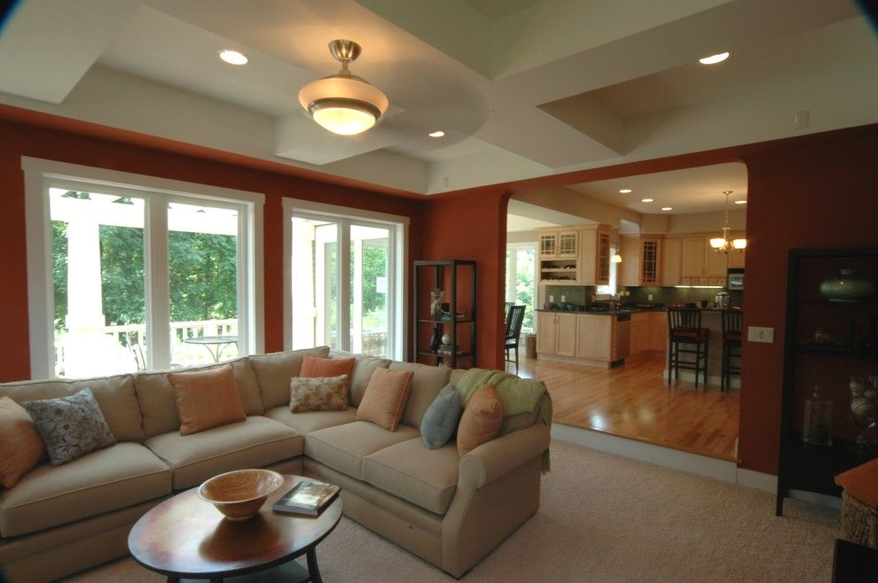 Russet Color for a Craftsman Living Room with a Ceiling Detail and Page Residence by Riemco Building Co.