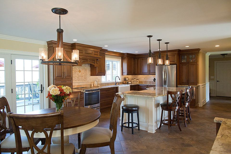 Russet Color for a Traditional Kitchen with a Lighting and Seamless Flow Kitchen by Crystal Cabinets by Curtis Lumber Ballston Spa