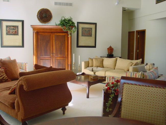 Russet Color for a Traditional Living Room with a Sofa and Living Rooms by Terry Ellis, Asid   Room Service Interior Design