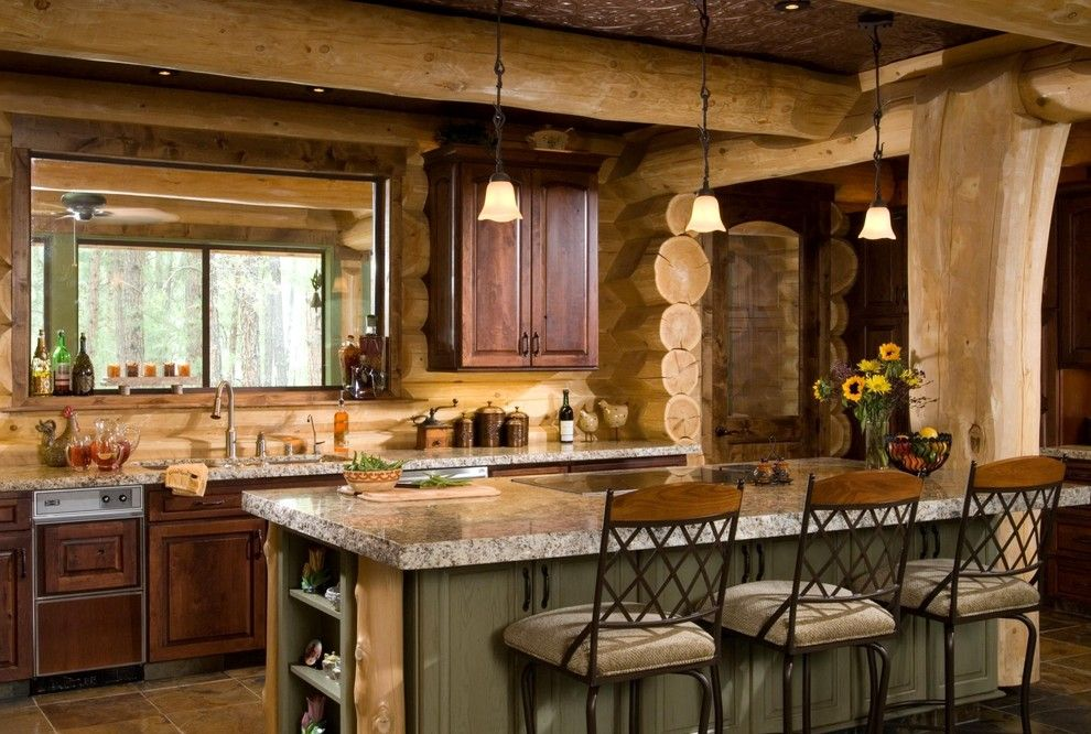 Ryland Homes Az for a Rustic Kitchen with a Pendant Lights and Pinetop, AZ by Summit Log & Timber Homes