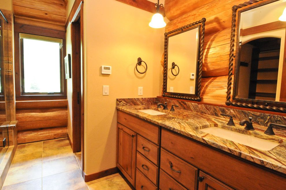Ryland Homes Denver for a Rustic Bathroom with a Rustic and 2013 Parade Home Moose Ridge Cabin Log Home by Mountain Log Homes & Interiors