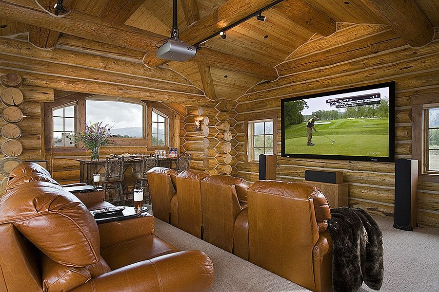 Ryland Homes Denver for a Traditional Home Theater with a Big Screen Television and Tucker Ranch   Jackson Hole, Wy by Teton Heritage Builders