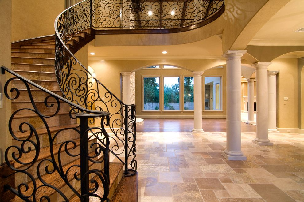 Ryland Homes Houston for a Mediterranean Staircase with a Iron Staircase and 78 P by Croix Custom Homes