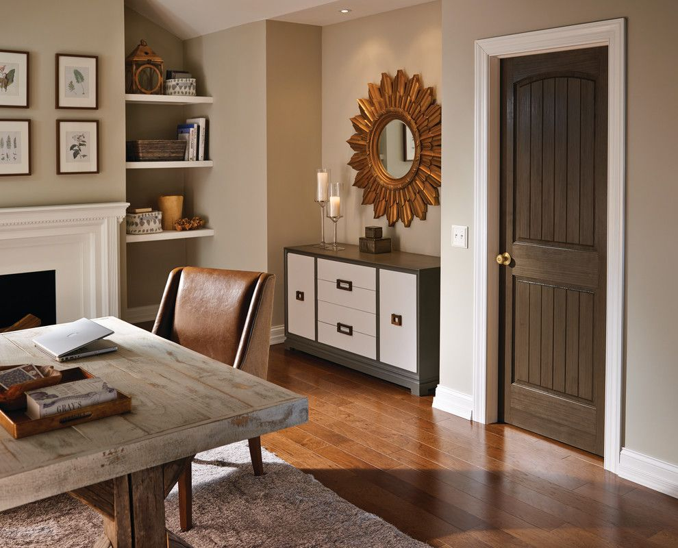 Ryland Homes Indianapolis for a Contemporary Home Office with a Door Knob and Schlage Georgian Knob in Satin Brass by Schlage Locks