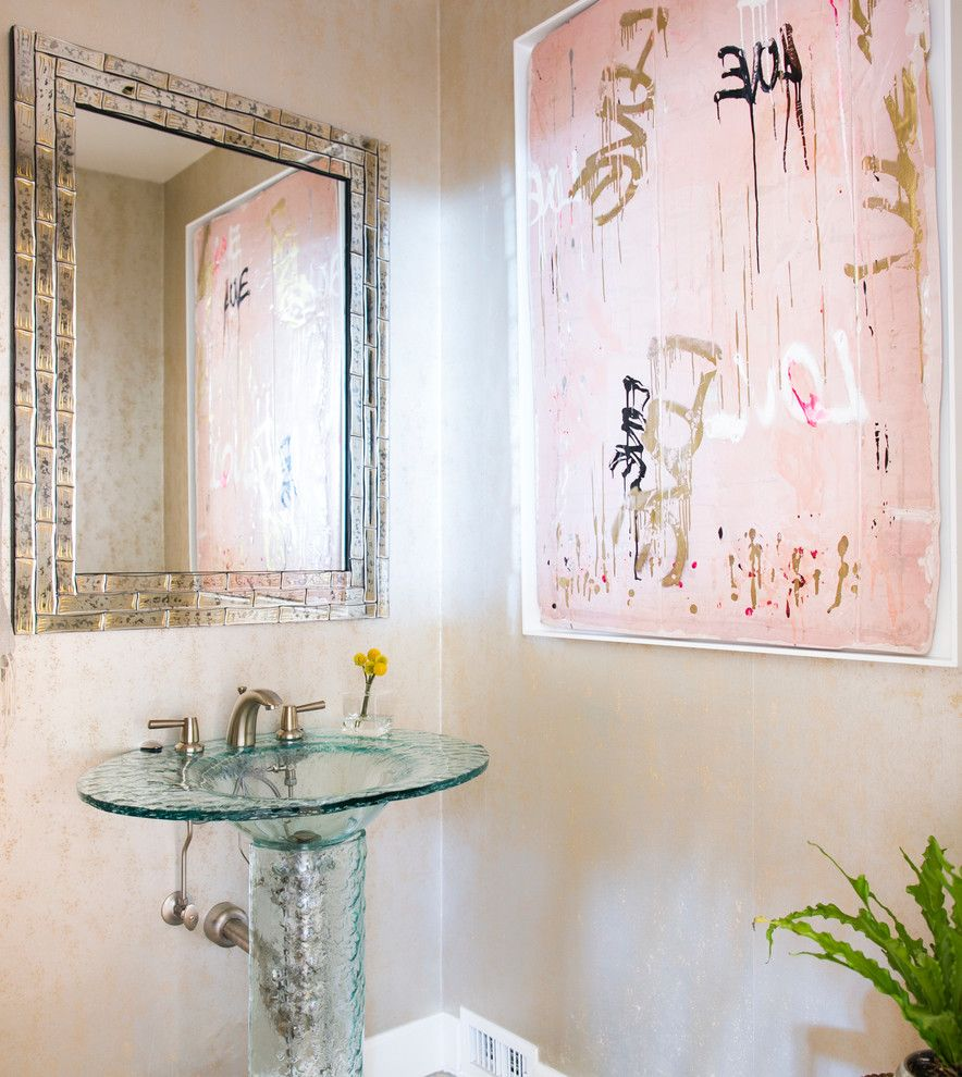 Safelite Autoglass for a Contemporary Powder Room with a Contemporary Design and Santa Barbara Contemporary by Jodi G. Designs