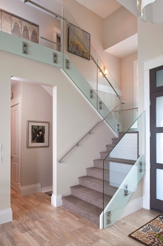 Safelite Autoglass for a Contemporary Staircase with a Black Frosted Glass Door and Eagle Mountain Home by Revival Arts | Architectural Photography