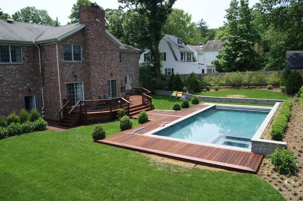 Safelite Nj for a Contemporary Pool with a Cedar Deck and Private Ipe Board Walk by Deck Remodelers.com
