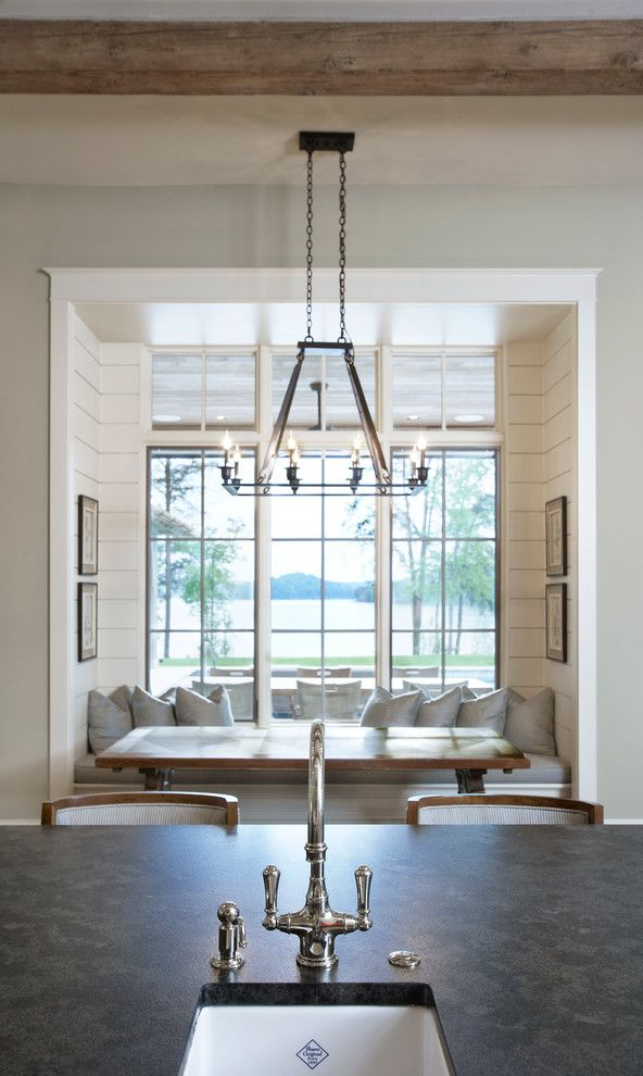 Sag Harbor Gym for a Traditional Dining Room with a Americraft Cabinets and Lake Front Country Estate by Markalunas Architecture Group