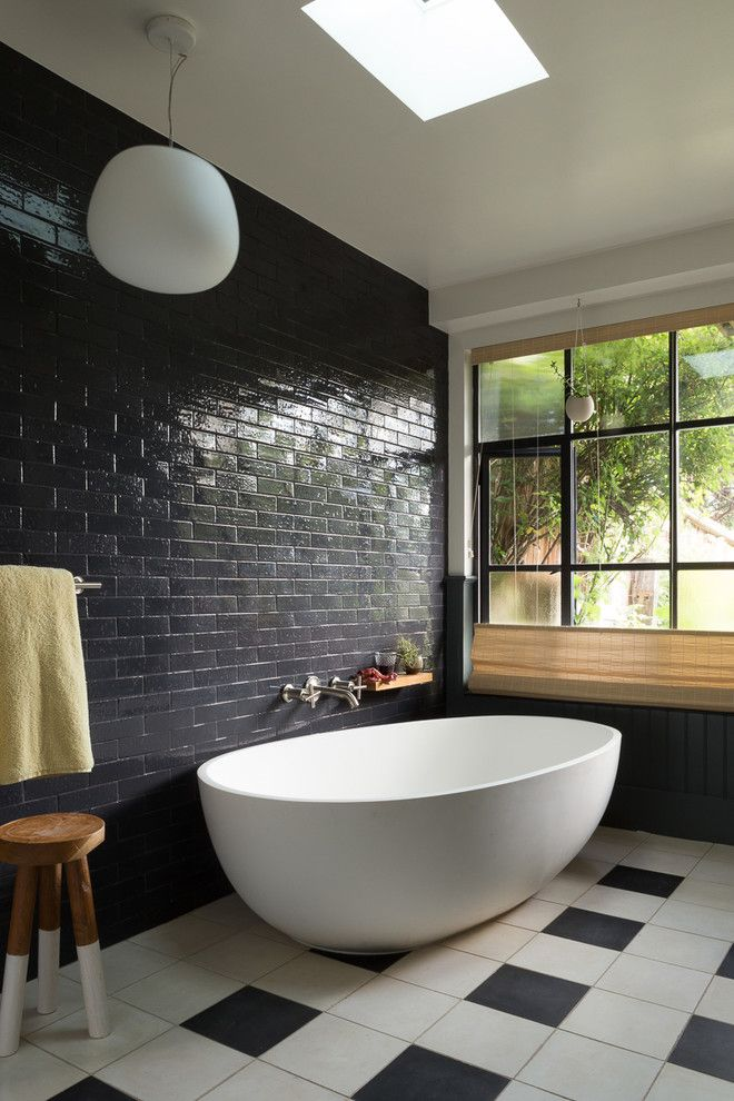San Bernard Electric for a Eclectic Bathroom with a Black Wainscoting and an Eclectic Family Home   Noe Valley, Sf by Alden Miller Interiors