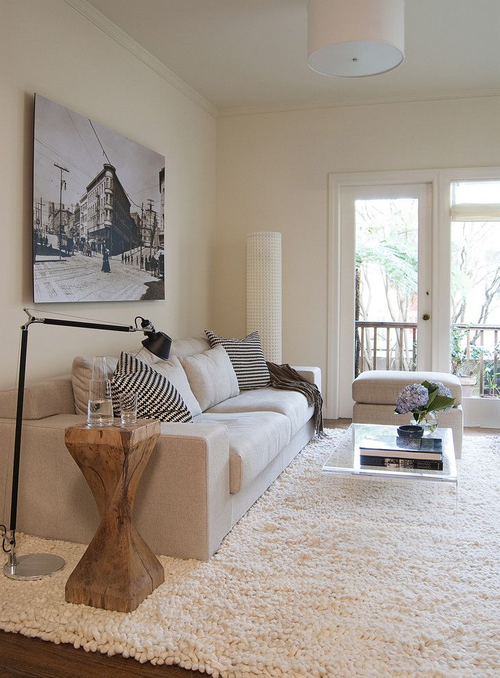 San Francisco Must See for a Transitional Living Room with a Wood Slab Side Table and North Beach Condo by Niche Interiors