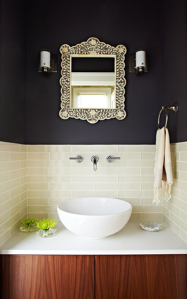 San Francisco Points of Interest for a Contemporary Powder Room with a Inlay Mirror and Powder Room by W. David Seidel, Aia   Architect