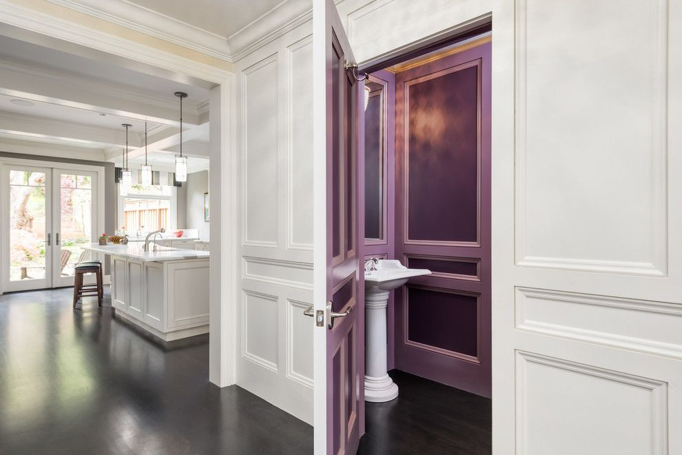 San Francisco Points of Interest for a Traditional Powder Room with a Purple Wall Paneling and Eureka Valley House by Winder Gibson Architects
