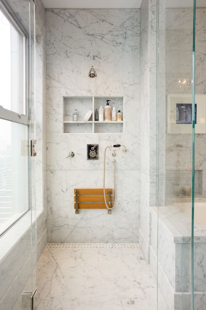 San Francisco Points of Interest for a Transitional Bathroom with a Shower Bench and San Francisco   Urban Contemporary Design by New Marble Company Inc.