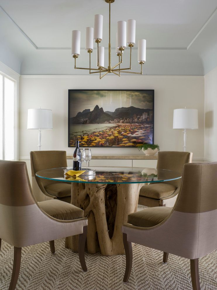 San Francisco Points of Interest for a Transitional Dining Room with a Glass Dining Table and San Francisco Pied Á Terre by Angela Free Design