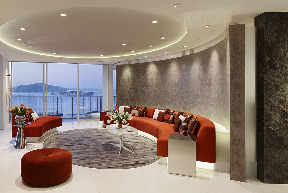 San Mateo Theater for a Modern Living Room with a Venetian Plaster Wall and Fontana Interior by Mark English Architects, Aia