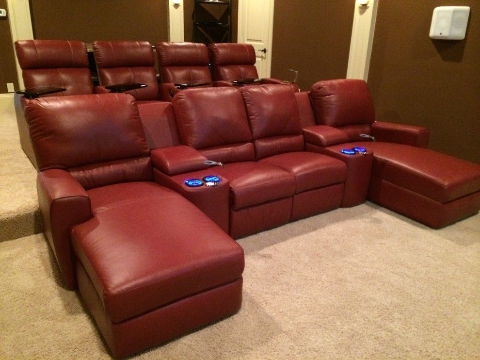 San mateo theater for a contemporary living room with a for Corner home theater furniture