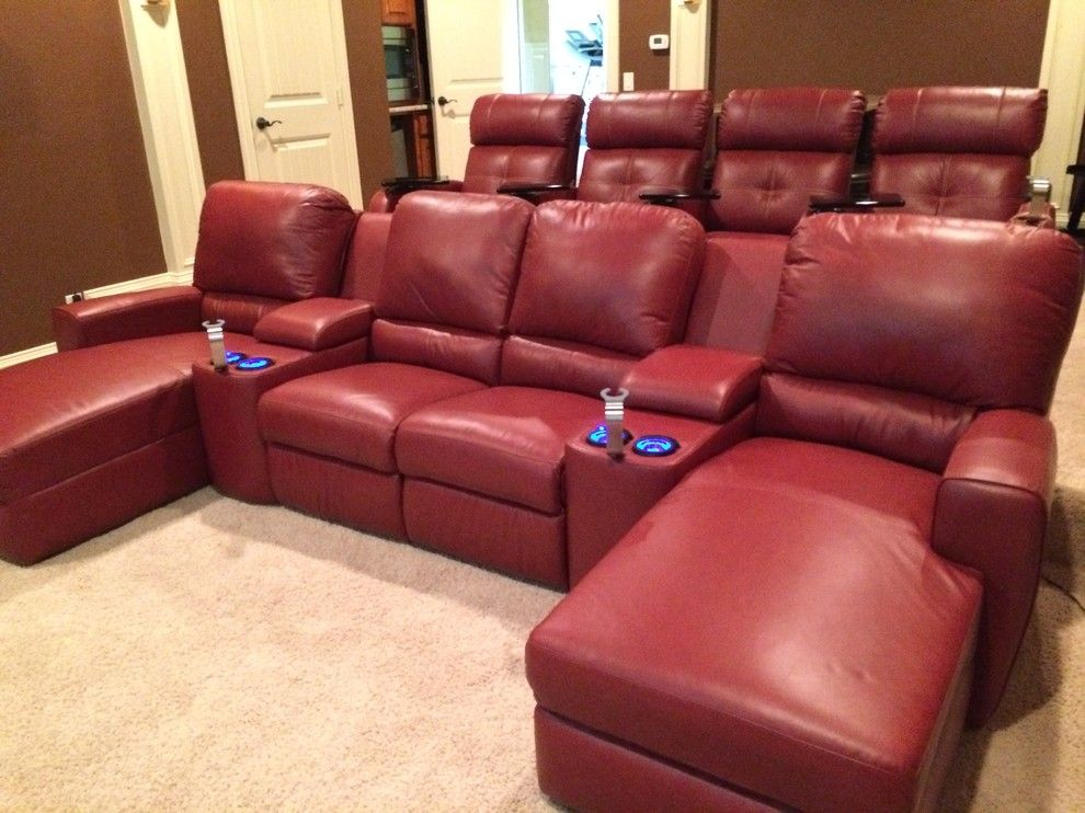 San Mateo Theater for a Transitional Home Theater with a Theatre Chairs and Palliser San Francisco Media Sectional with Stereo Chairs by Mccabe's Theater & Living