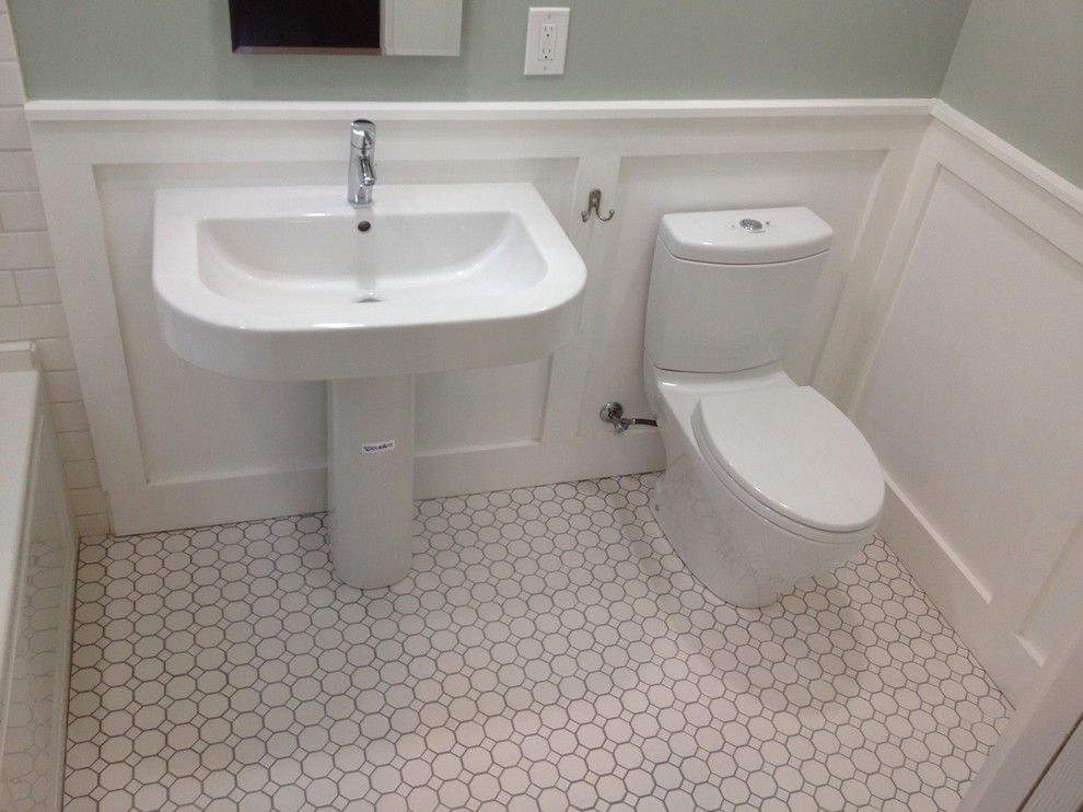 Sanded or Unsanded Grout for a Craftsman Bathroom with a Hex Tile and Bathroom Remodeling by L.a. Remodeling Co. ®