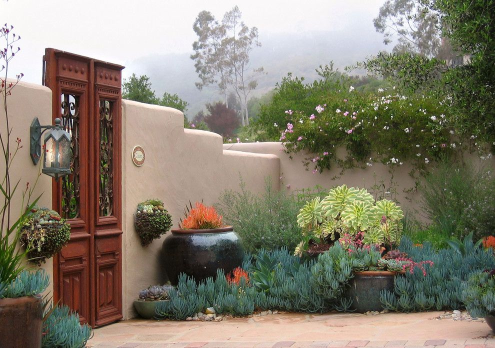 Santa Fe Botanical Garden for a Mediterranean Landscape with a Garden Gate and Grace Design Associates by Margie Grace   Grace Design Associates