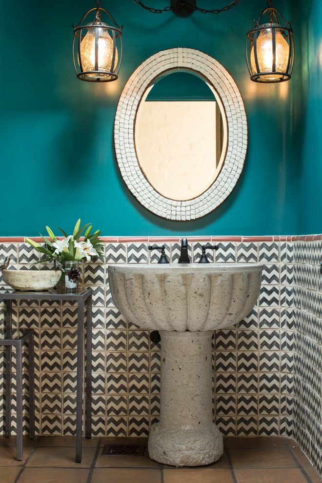 Santa Fe Botanical Garden for a Southwestern Powder Room with a Southwestern Style and Southwestern Powder Room by Chandler Prewitt Interior Design
