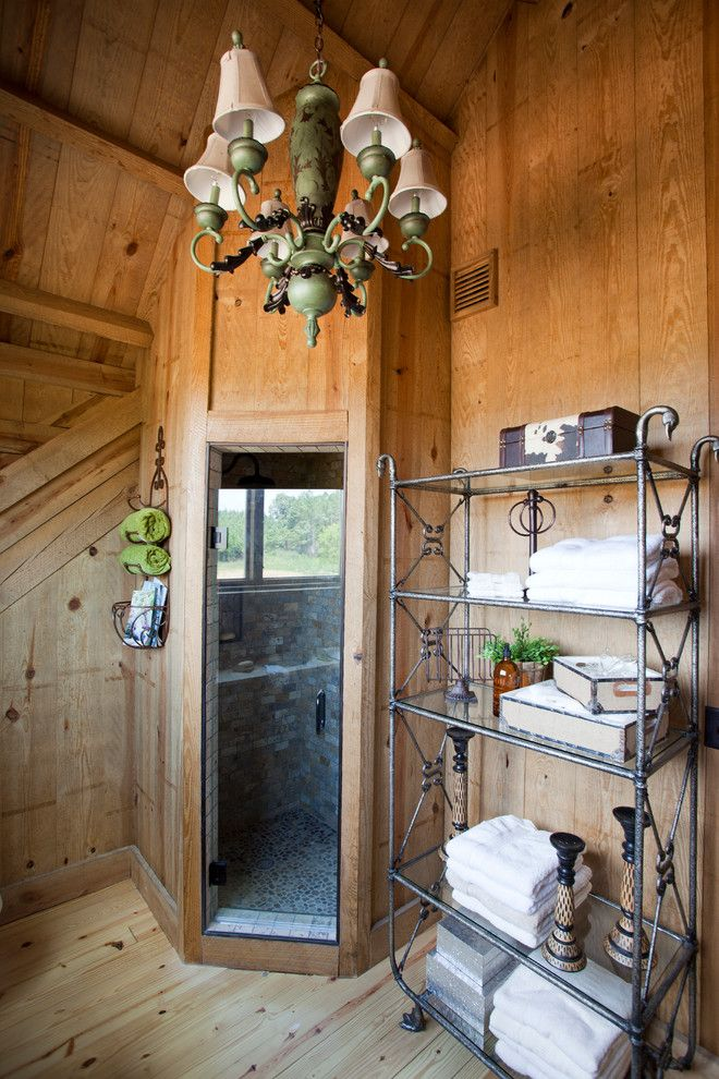 Sauna vs Steam Room for a Farmhouse Bathroom with a Barn Conversion and Tennessee Barn Home by Sand Creek Post & Beam