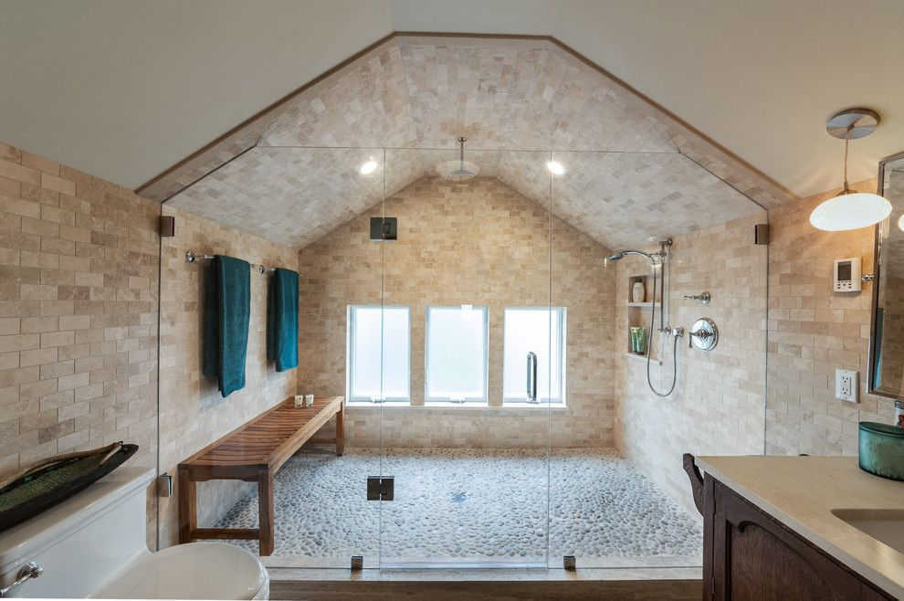 Sauna vs Steam Room for a Transitional Bathroom with a Large Shower Chamber and Ne Capitol Hill Bathroom by Bakken Design Build