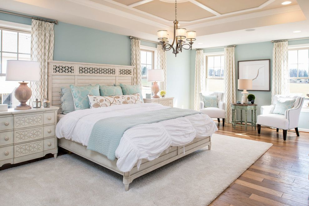 Schaefers for a Farmhouse Bedroom with a White Chairs and Landsdale Mason Model Home, Monrovia, Md by Laura Bendik Interiors