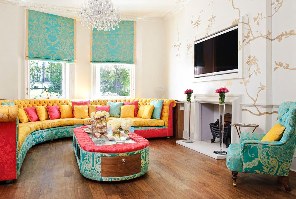 Schaefers for a Transitional Living Room with a Yellow Pink and Blue and Montagu Square by Interior Desires Uk