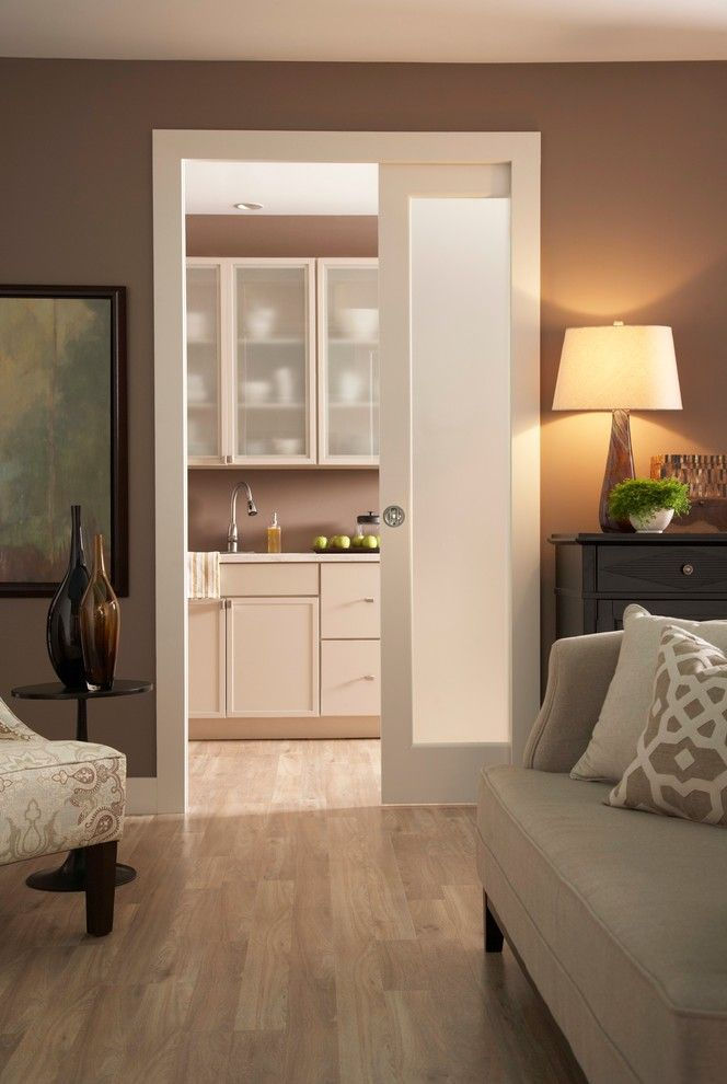 Scissor Doors for a Contemporary Living Room with a Brown Walls and Kitchen Pocket Door Series 1500 by Johnson Hardware