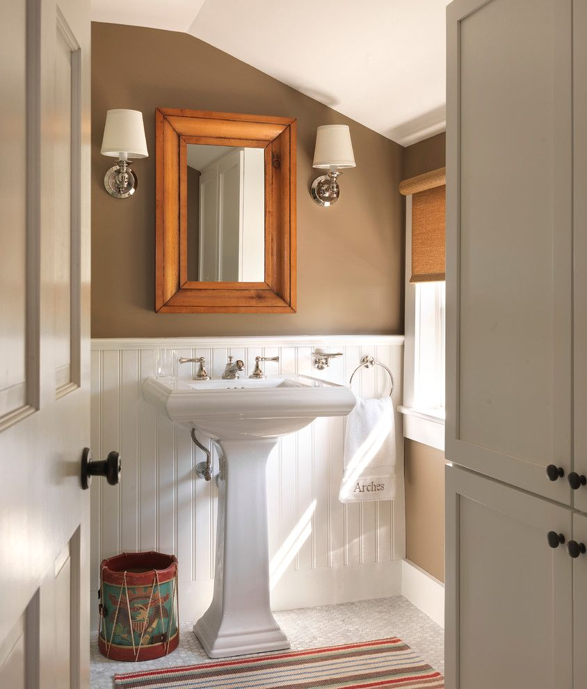 Sconce Definition for a Beach Style Powder Room with a Cottage and Coastal Cottage by Kate Jackson Design