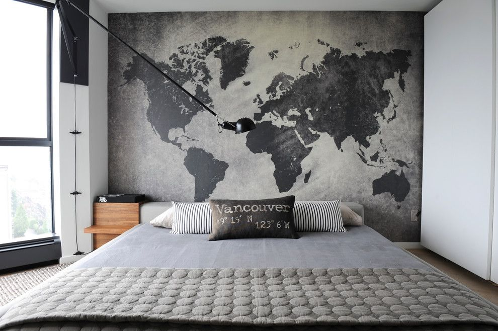 Sconce Definition for a Contemporary Bedroom with a Oversized Arm Wall Sconce and West 2nd Street, North Vancouver by Gaile Guevara