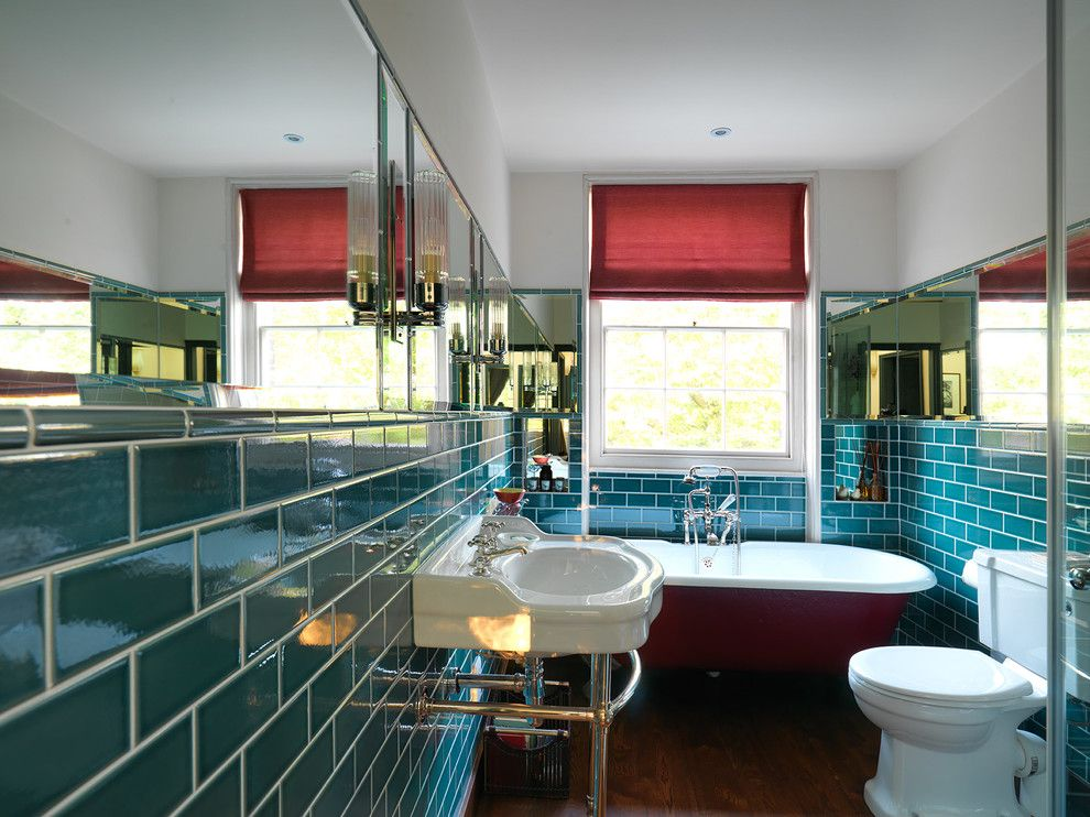 Sconce Definition for a Transitional Bathroom with a Turquoise Tile and House by Regent's Park   Project by Vicki Wells/wells & Trembath by Adam Butler Photography