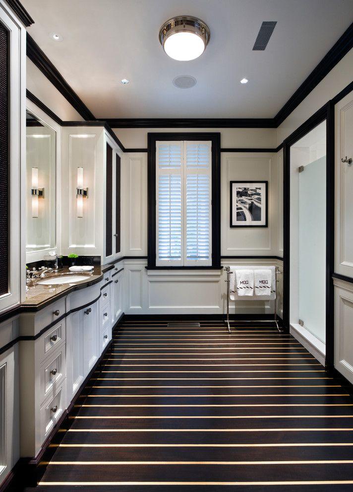 Sconces Definition for a Traditional Bathroom with a Ceiling Light and Traditional Bathroom by Millerwrightarchitects.com