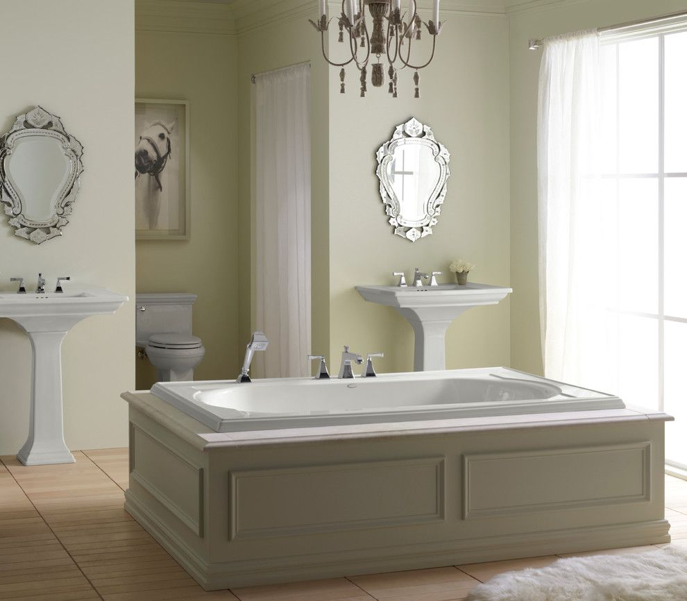 Sconces Definition for a Traditional Bathroom with a Wall Mounted Mirrors and Kohler Bathrooms by Capitol District Supply
