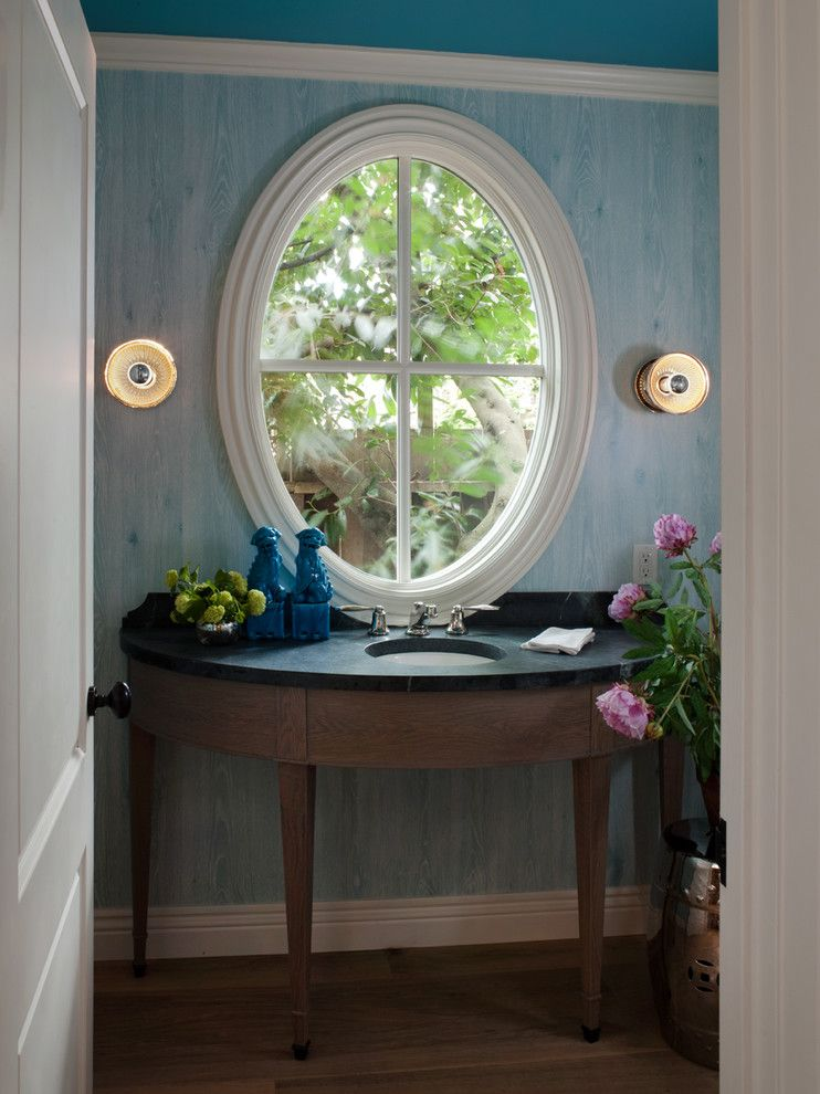 Sconces Definition for a Traditional Powder Room with a Circular Sink and Mill Valley Classic Cottage by Heydt Designs