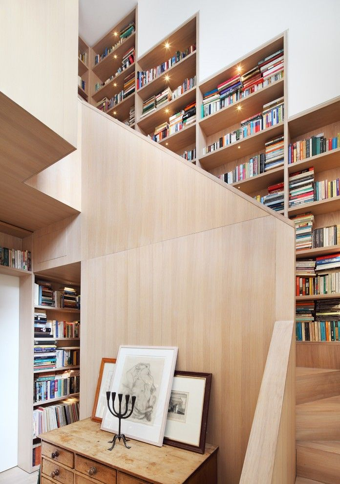 Scotch Hall Preserve for a Contemporary Staircase with a Stair Bookcase and Book Tower House by Platform 5 Architects