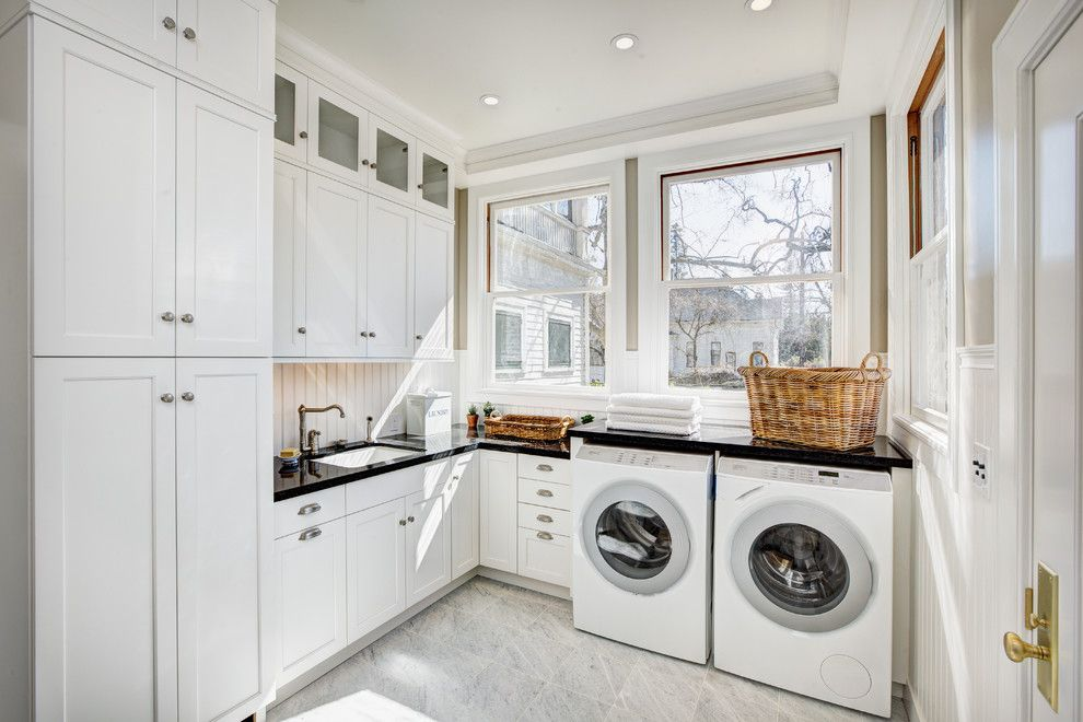 Scotch Hall Preserve for a Traditional Laundry Room with a Cambria Quartz Countertops and Historic Georgian Renovation by by Design