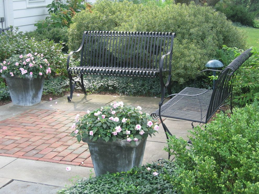 Scotts Lawn for a Traditional Landscape with a Wrought Iron Bench and Formal Country Garden by Scott Mehaffey, Landscape Architect