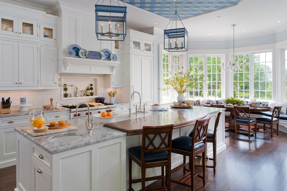 Seabrook Island Sc for a Traditional Kitchen with a White Kitchen and Traditional White and Blue Kitchen by Kathleen Walsh Interiors, Llc
