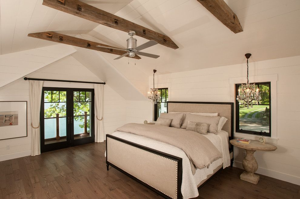 Sears Outlet Portland for a Rustic Bedroom with a Beige Bedding and Lake George Retreat by Phinney Design Group