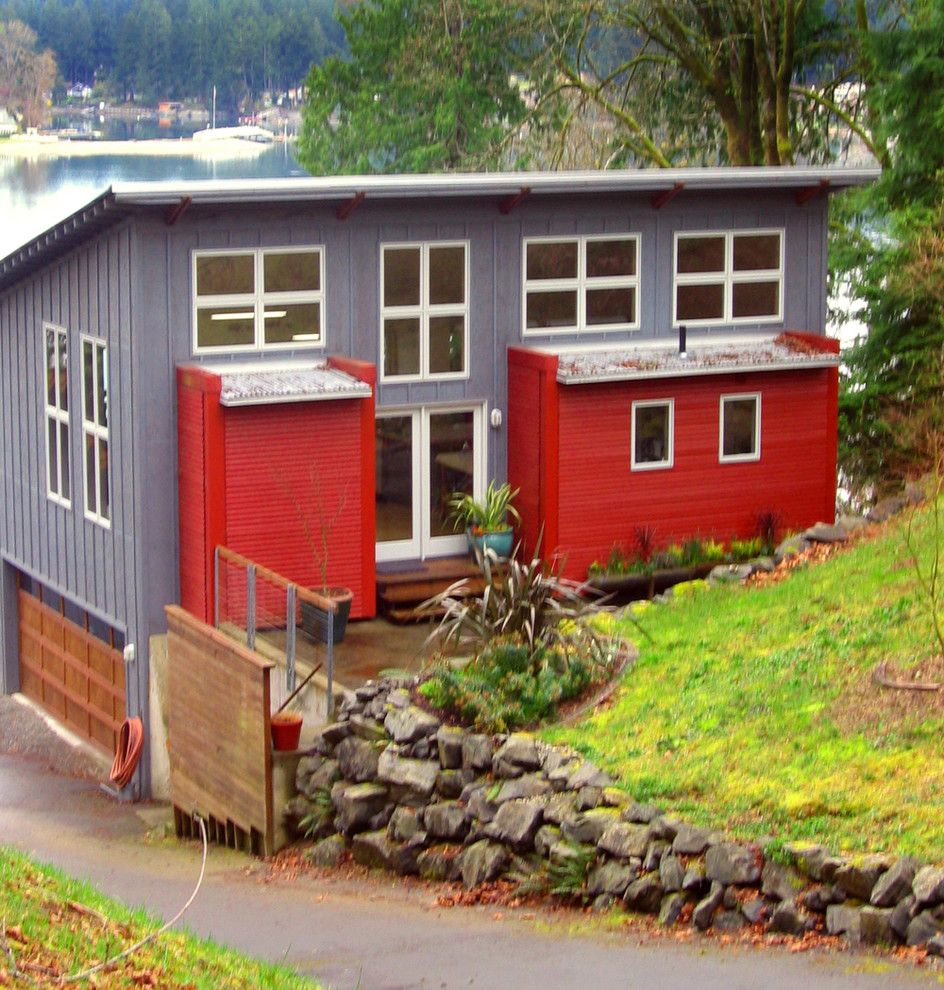 Seattle Yoga Arts for a Contemporary Exterior with a Contemporary and Houzz Tour: Art and Design on Raft Island, Washington by Wendy K. Leigh