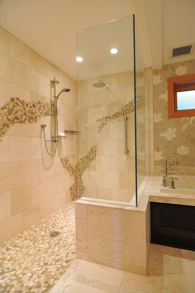 Seattle Yoga Arts for a Eclectic Bathroom with a Mosaic Tile Shower Floor and Shiela Off, Cmkbd by Signature Design & Cabinetry Llc