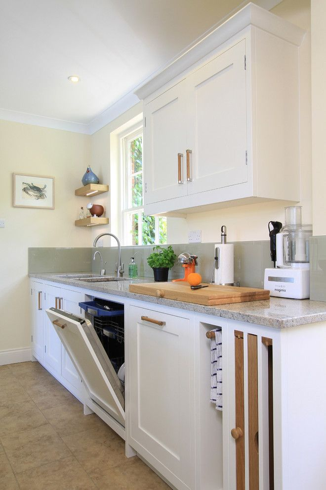 Self Serve Lumber for a Traditional Kitchen with a Tile Floor and in Frame Shaker Kitchen in Green Blue & Wimborne White by Beau Port Kitchens