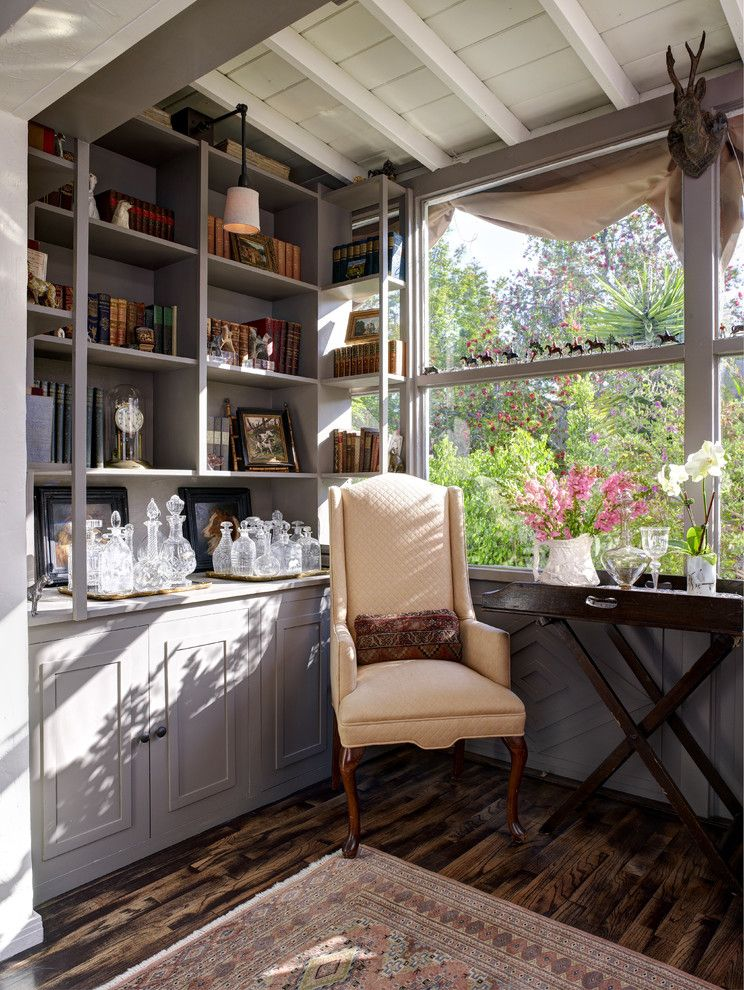 Self Serve Lumber for a Traditional Living Room with a Grey Bookcase and Ayres Ave by Stephanie Wallace & Associates