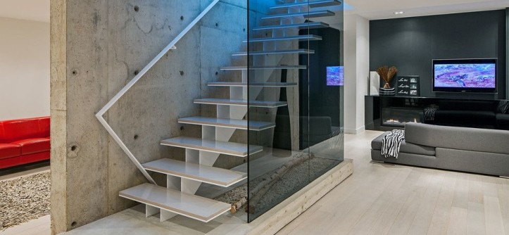 Sellars for a Scandinavian Staircase with a Platform and Modern Home in Oakville Ontario by Peter A. Sellar - Architectural Photographer