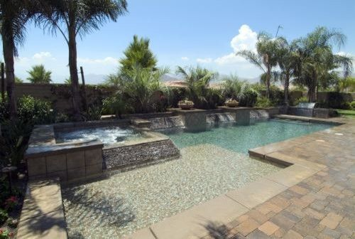 Serenity Med Spa for a Mediterranean Pool with a Mediterranean and California Pools by California Pools
