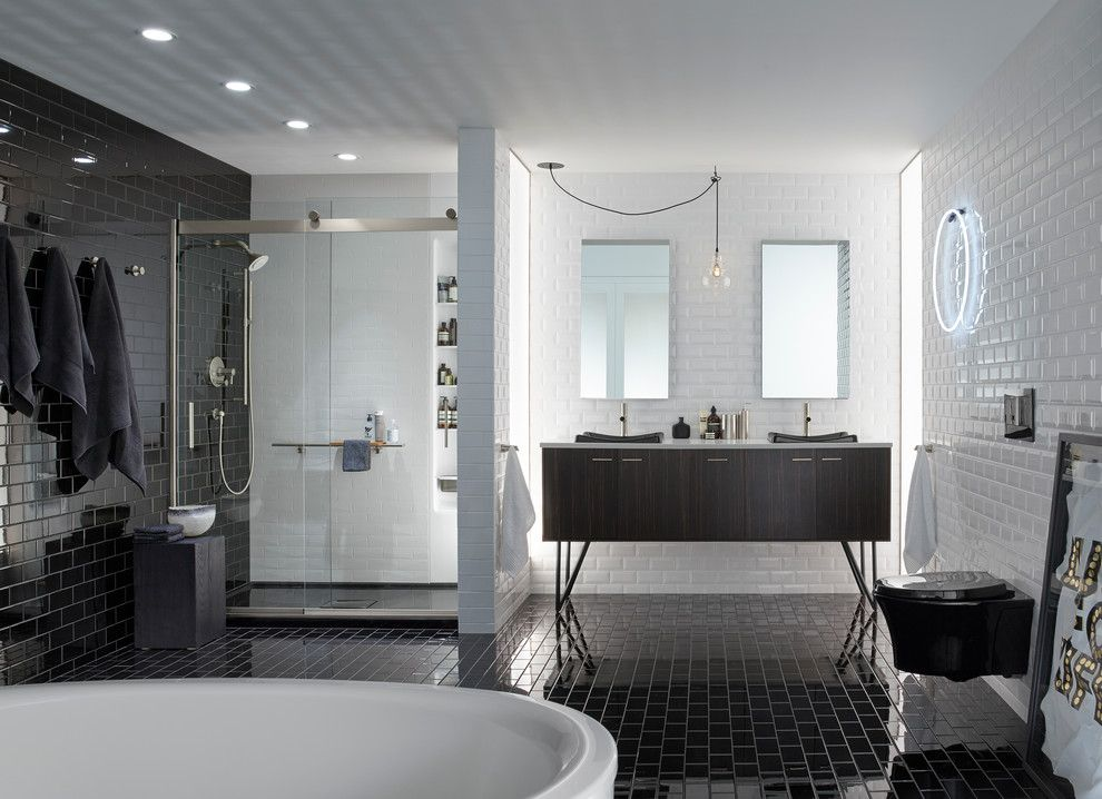 Shelco for a Contemporary Bathroom with a Beveled Subway Tile and Kohler by Kohler