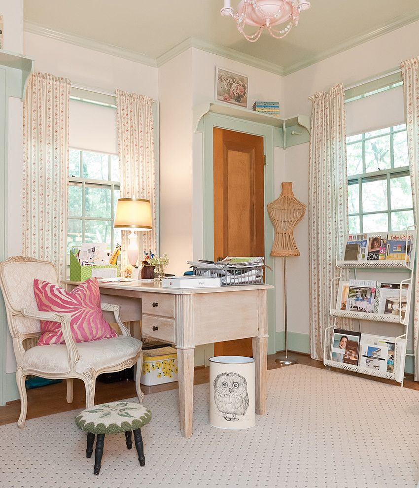 Shelco for a Shabby Chic Style Home Office with a Dressform and Enchanted Storybook by Kristie Barnett, the Decorologist